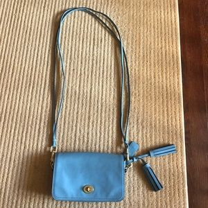 Blue Leather Coach Crossbody Purse